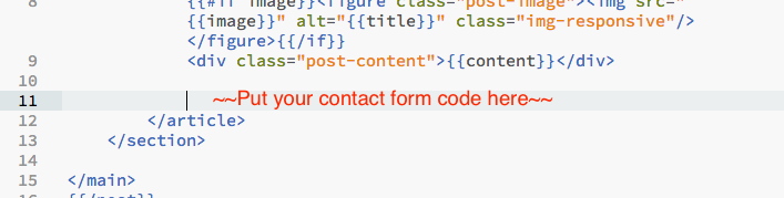 example of where to paste the contact form code