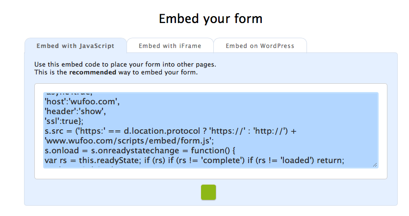 embed contact form code example