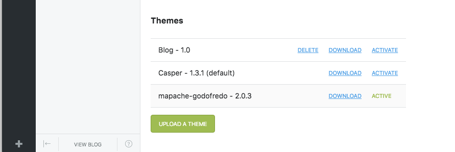 screenshot of theme upload manager