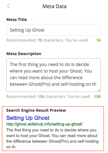 Ghost Admin Panel Preview (AFTER filling in the meta data)