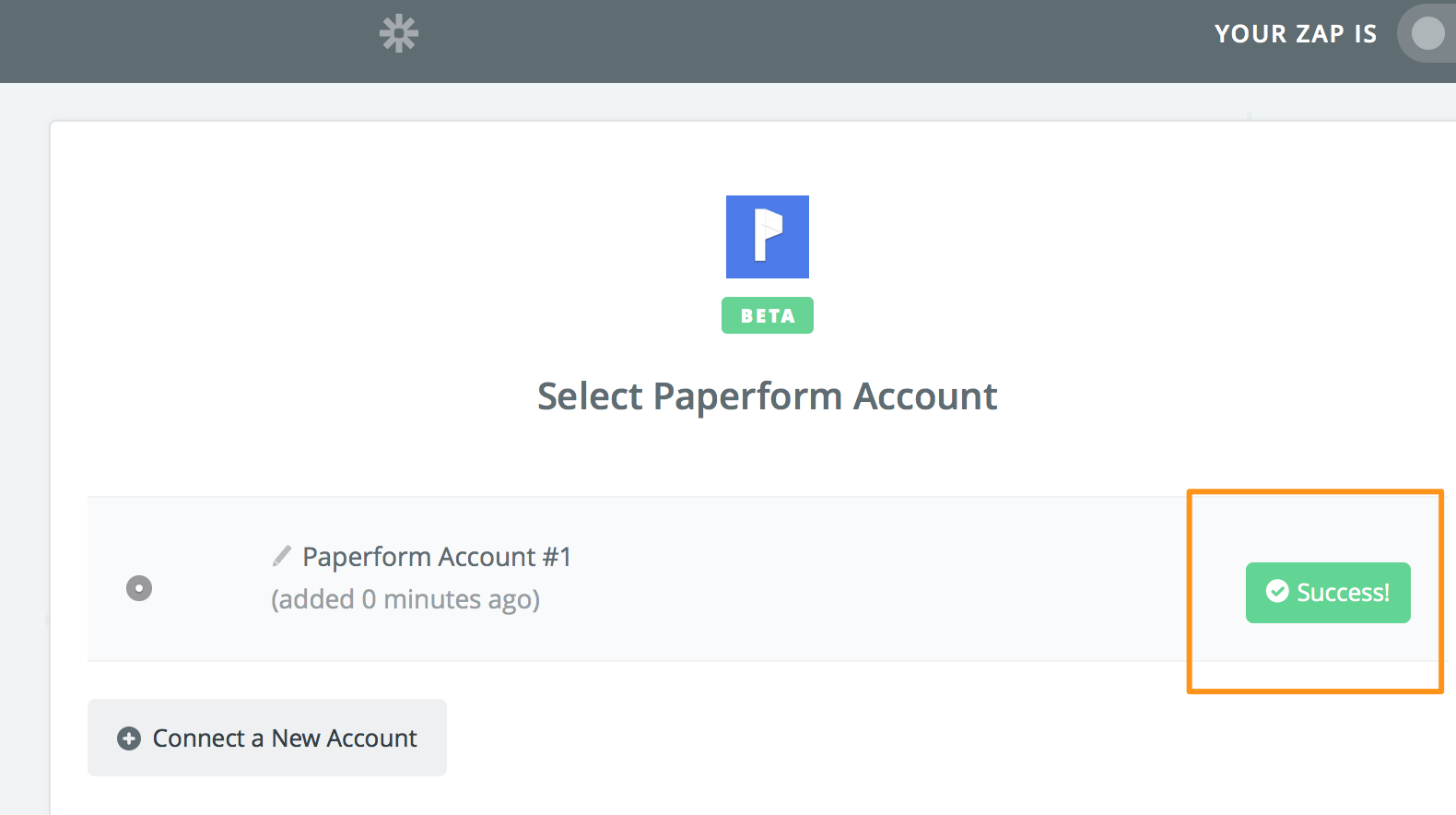 Paperform account added